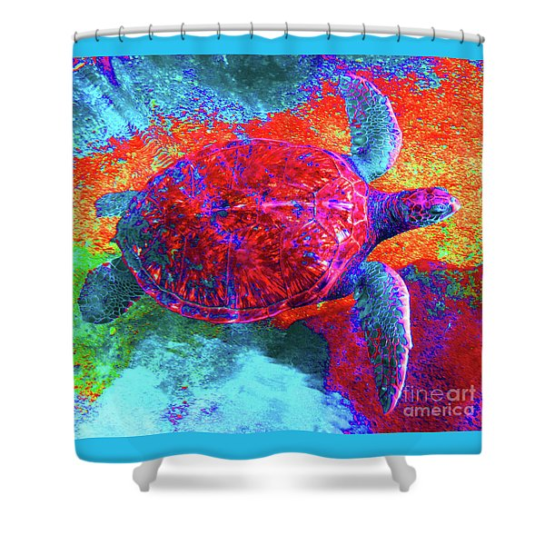 The Great Sea Turtle In Abstract Shower Curtain