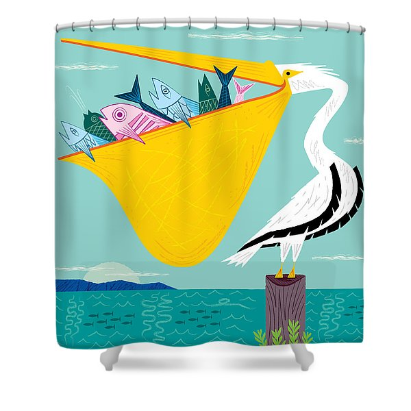 The Greedy Pelican Shower Curtain