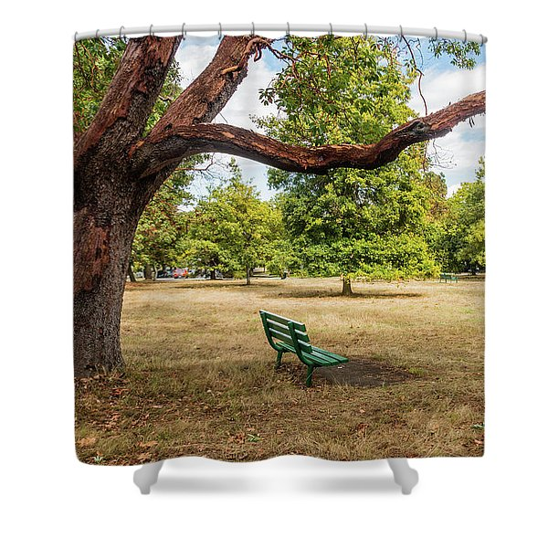 The Green Bench Shower Curtain