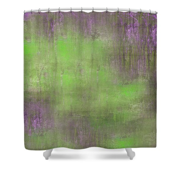 Shower Curtain featuring the digital art The Green Fog by Mihaela Stancu