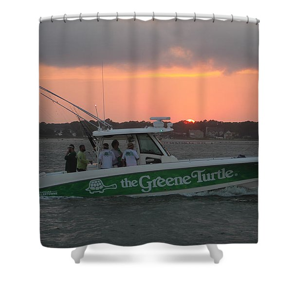 The Greene Turtle Power Boat Shower Curtain