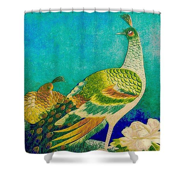 The Handsome Peacock - Kimono Series Shower Curtain