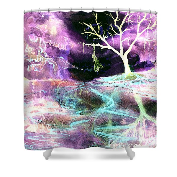 The Hanging Tree Inverted Shower Curtain