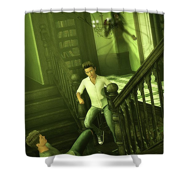 The Haunted Manor Shower Curtain