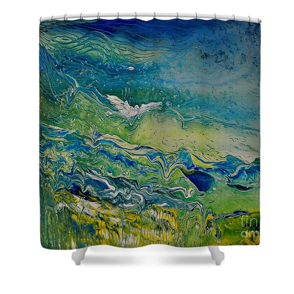 Shower Curtain featuring the painting The Heavens And The Eart by Deborah Nell