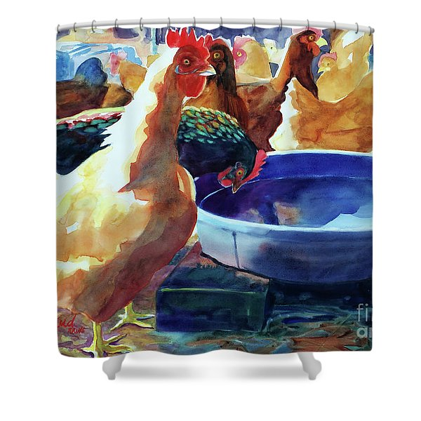 The Henhouse Watering Hole Shower Curtain