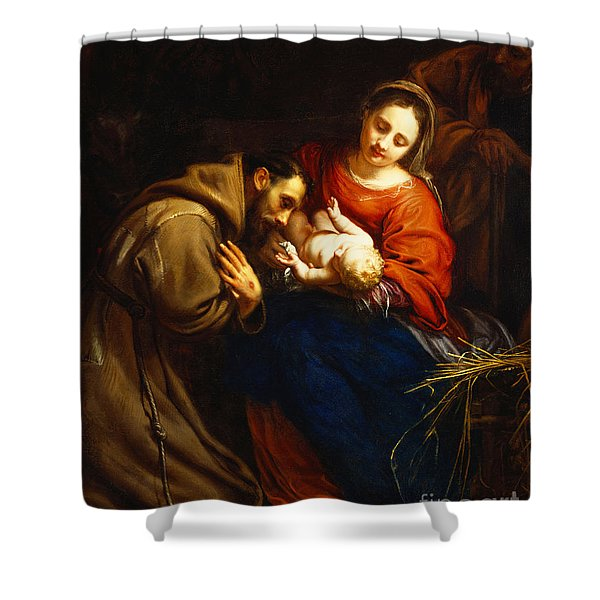 The Holy Family With Saint Francis Shower Curtain