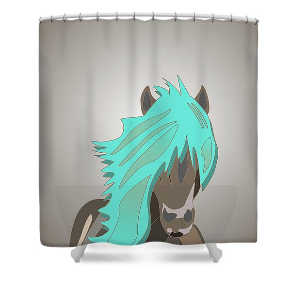 The Horse With The Turquoise Mane Shower Curtain