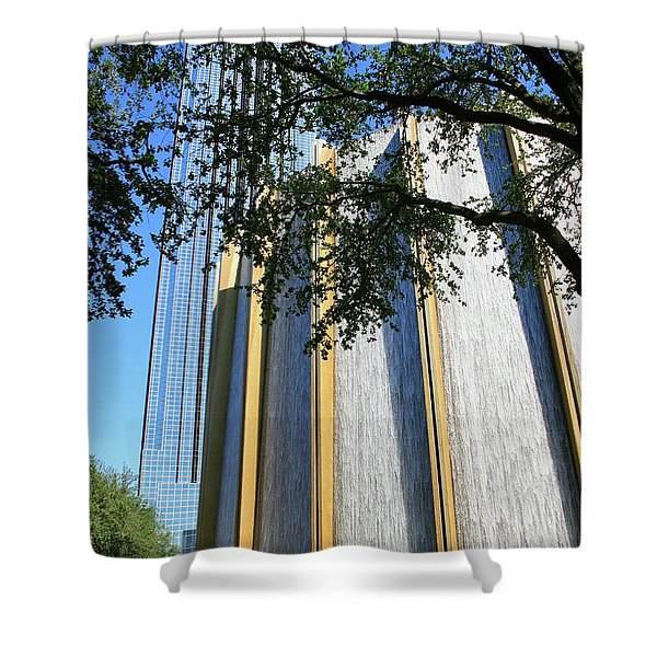 The Houston Water Wall And Williams Tower Shower Curtain