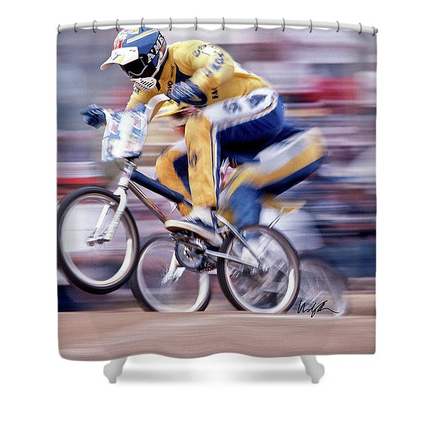 The Human Dragster, Tommy Brackens 1985 Shower Curtain