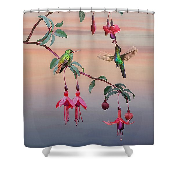 The Hummingbird Fuchsia Shower Curtain