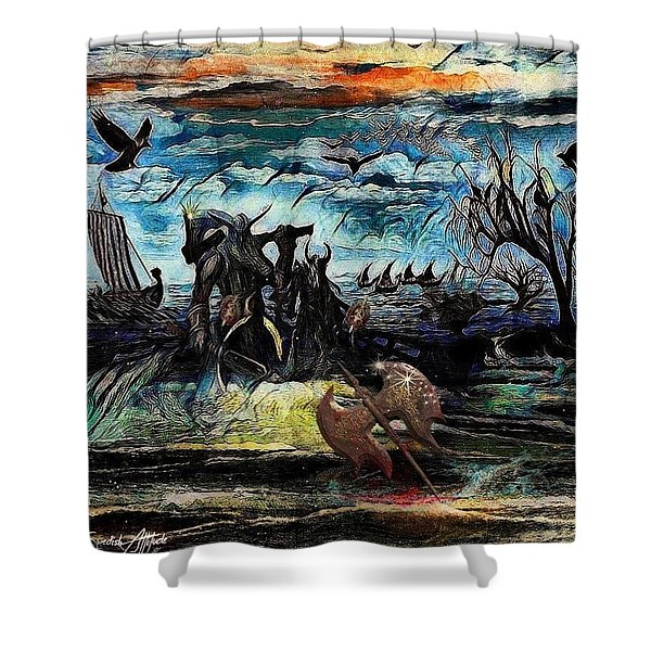 The Insurperable Guard Of The Land Of Danes And Brave Vikings Shower Curtain