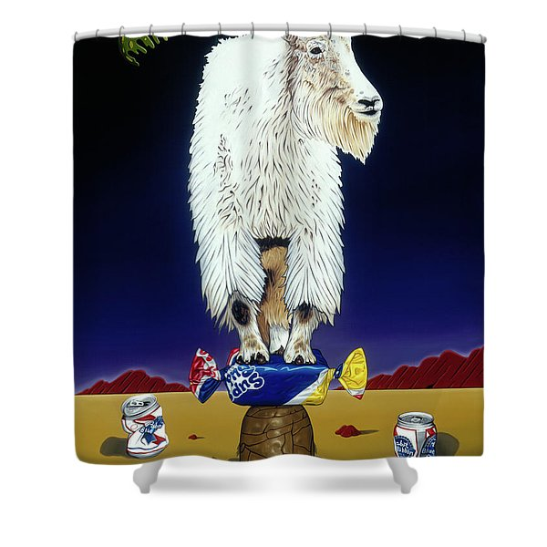The Intoxicated Mountain Goat Shower Curtain