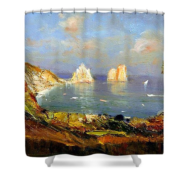 Shower Curtain featuring the painting The Island Of Capri And The Faraglioni by Rosario Piazza