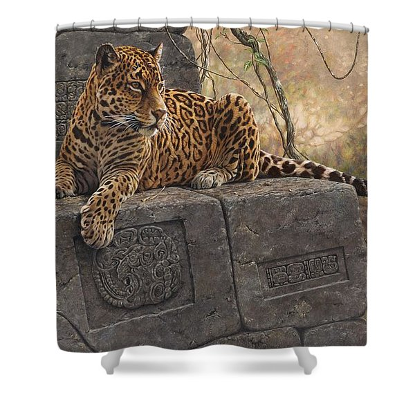 Shower Curtain featuring the painting The Jaguar King by Alan M Hunt