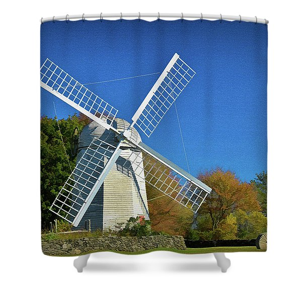 Shower Curtain featuring the photograph The Jamestown Windmill by Nancy De Flon