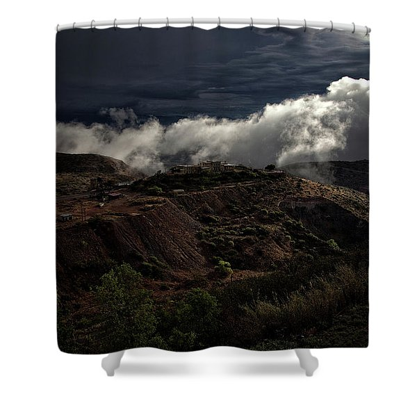The Jerome State Park With Low Lying Clouds After Storm Shower Curtain