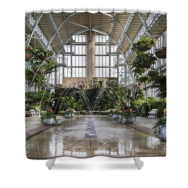 Shower Curtain featuring the photograph The Jewel Box Fountain by Andrea Silies
