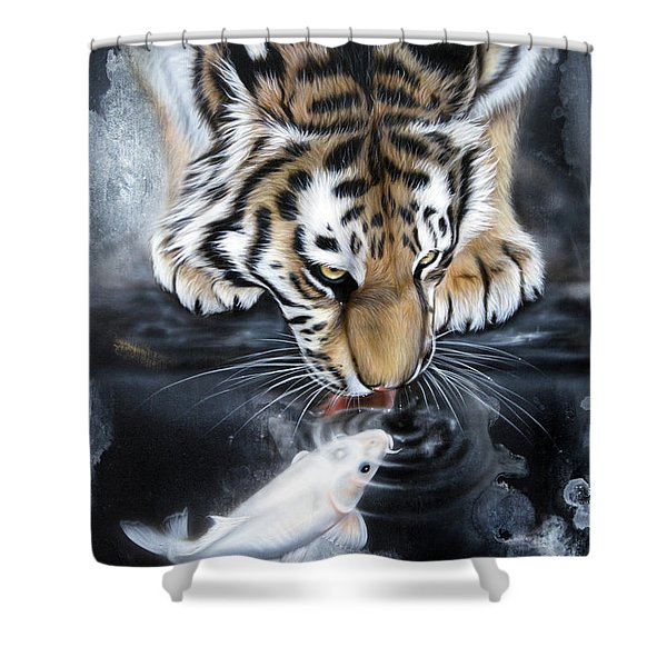 Shower Curtain featuring the painting The Kiss by Sandi Baker