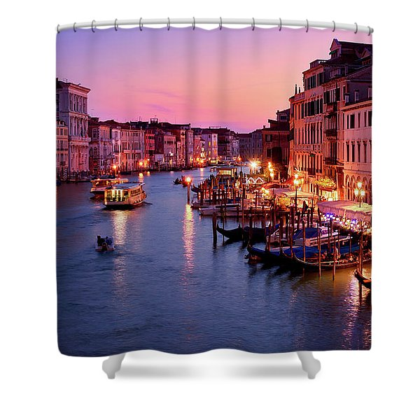 The Blue Hour From The Rialto Bridge In Venice, Italy Shower Curtain