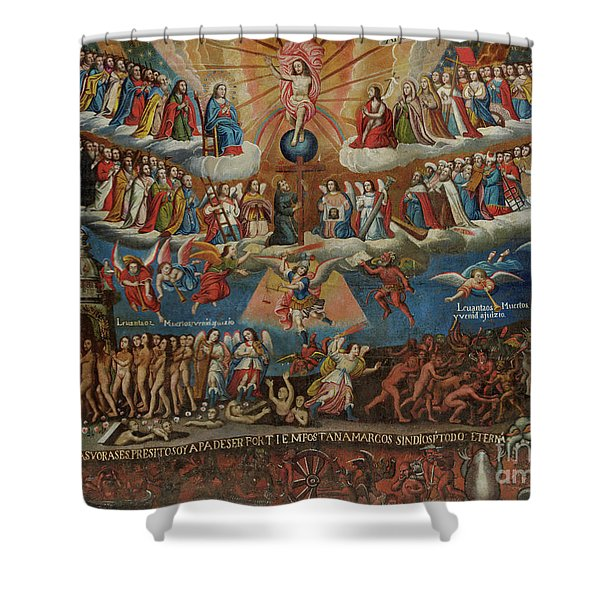 The Last Judgement, Cuzco School, Late 17th Century Shower Curtain