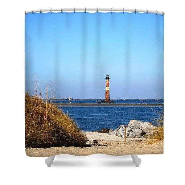 The Lighhouse At Morris Island Charleston Shower Curtain
