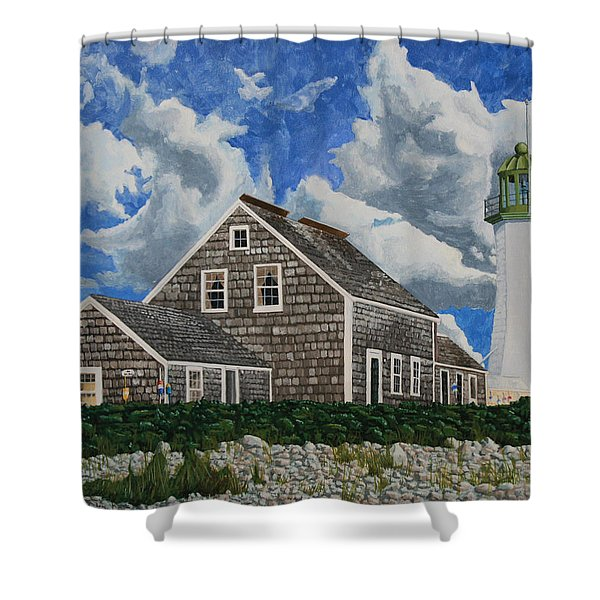 Shower Curtain featuring the painting The Light Keeper's House by Dominic White