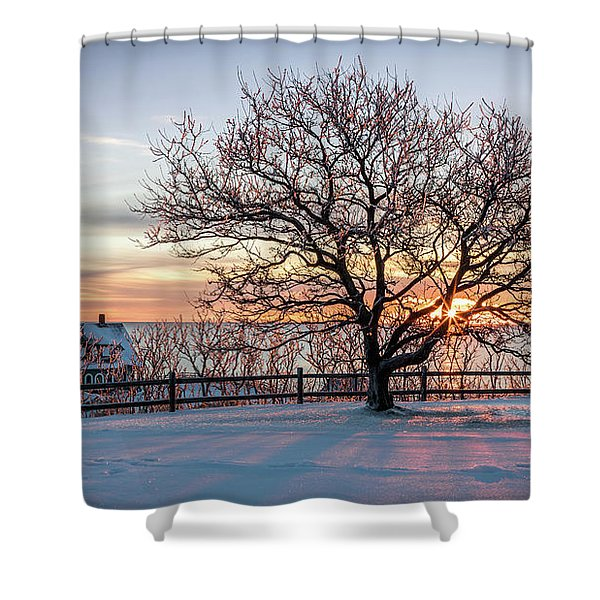 The Lighthouse And Tree Shower Curtain
