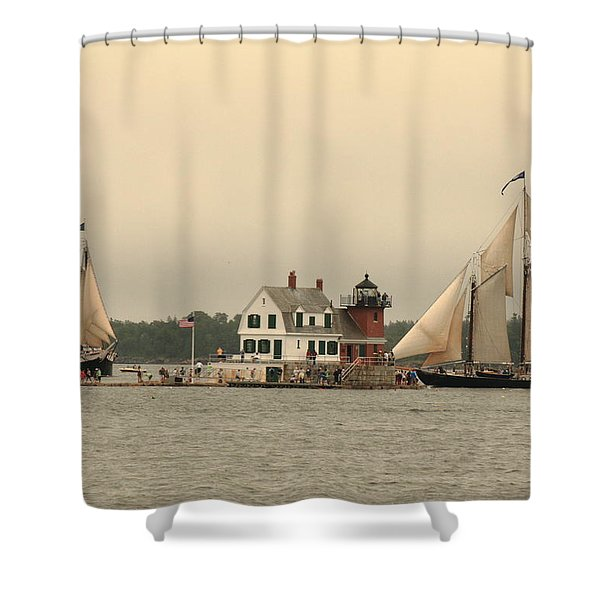 The Lighthouse At Rockland Shower Curtain