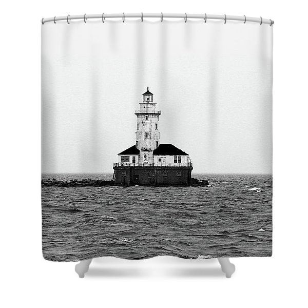 The Lighthouse Black And White Shower Curtain