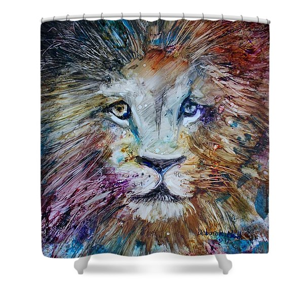 Shower Curtain featuring the painting The Lion by Deborah Nell