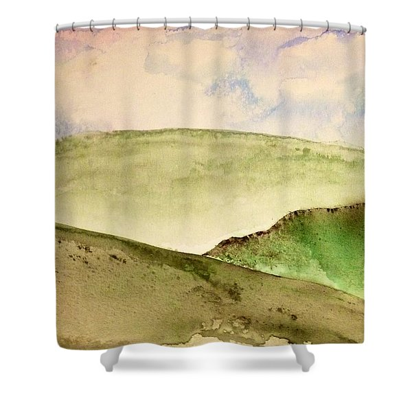 Shower Curtain featuring the painting The Little Hills Rejoice by Antonio Romero