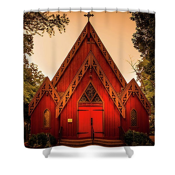 The Little Red Church Shower Curtain
