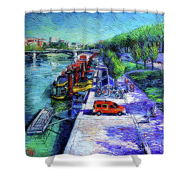 The Lively Banks Of Lyon - Modern Impressionist Palette Knife Oil Painting On Canvas Shower Curtain