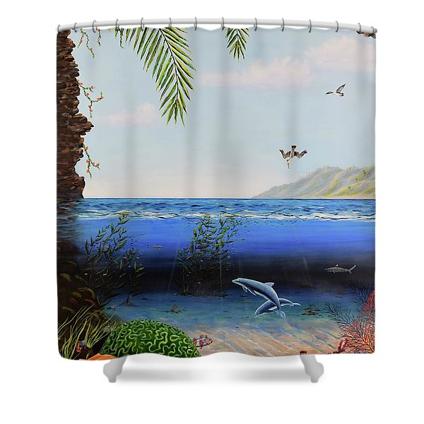 Shower Curtain featuring the painting The Living Ocean by Mary Scott