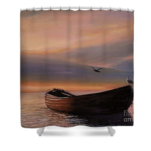Shower Curtain featuring the painting A Lone Boat by Rosario Piazza