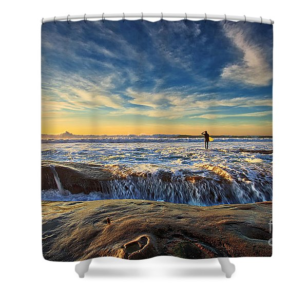 The Lone Surfer Shower Curtain