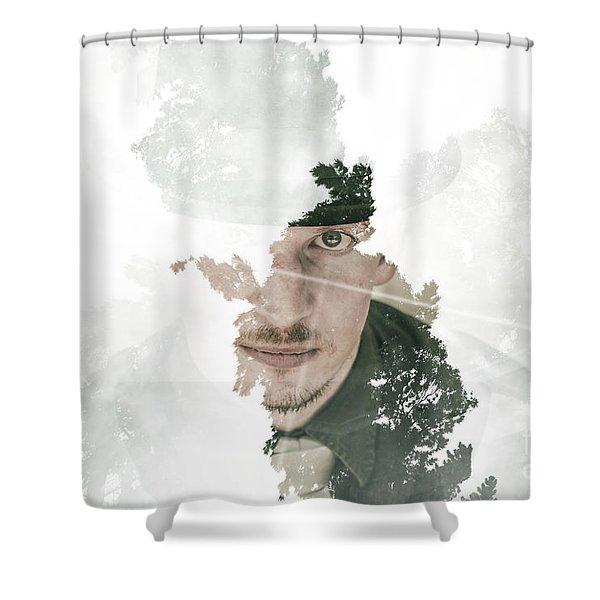 The Looking Glass Forest Man Shower Curtain