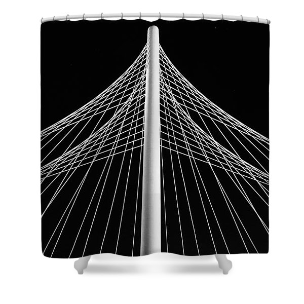 Shower Curtain featuring the photograph The Margaret Hunt Hill Bridge In Dallas by Robert Bellomy