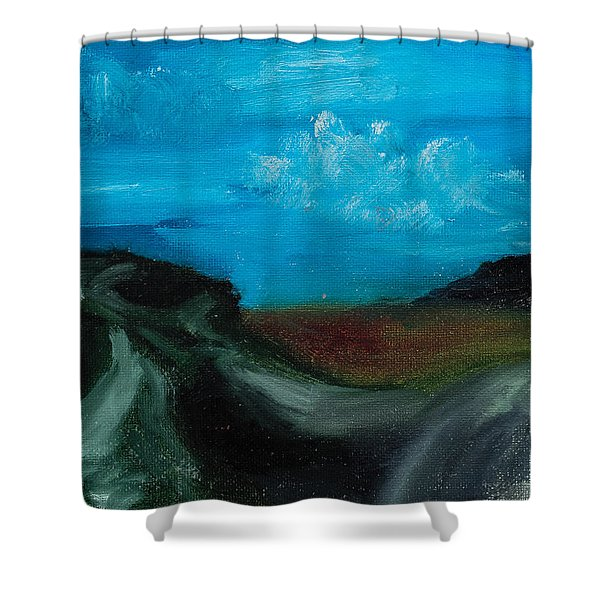 Shower Curtain featuring the painting The Message by Break The Silhouette