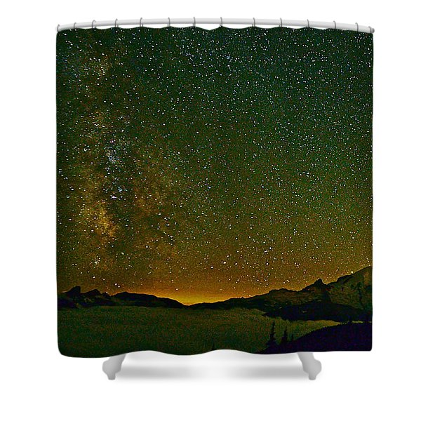The Milky Way And Mt. Rainier Shower Curtain