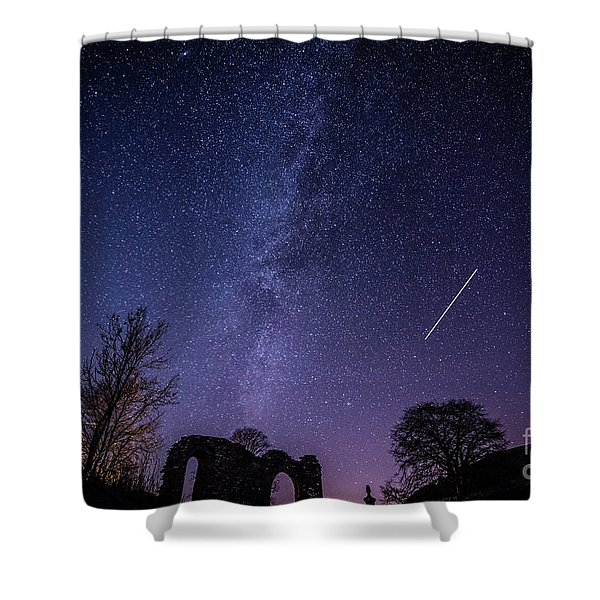 The Milky Way Over Strata Florida Abbey, Ceredigion Wales Uk Shower Curtain