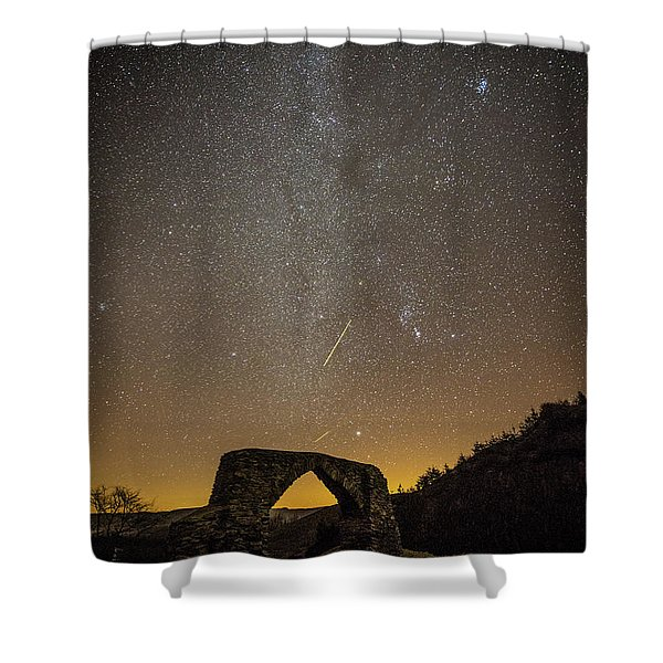 The Milky Way Over The Hafod Arch, Ceredigion Wales Uk Shower Curtain