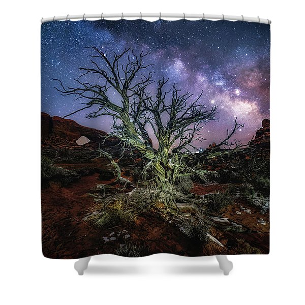 The Milky Way Tree Shower Curtain