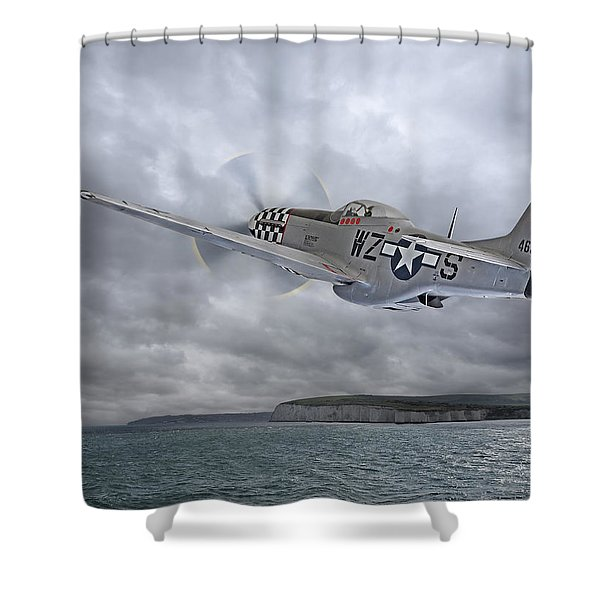 The Mission - P51 Over Dover Shower Curtain