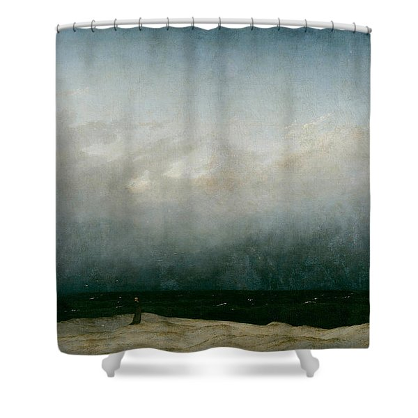 Monk By The Sea  Shower Curtain