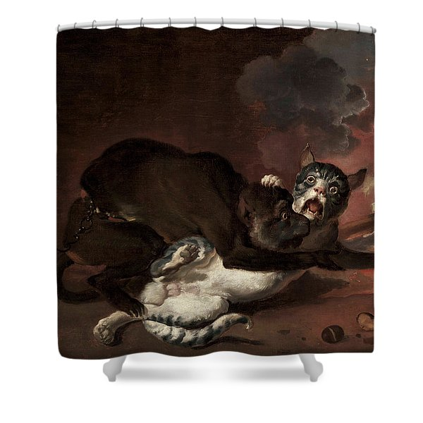 The Monkey And The Cat Shower Curtain
