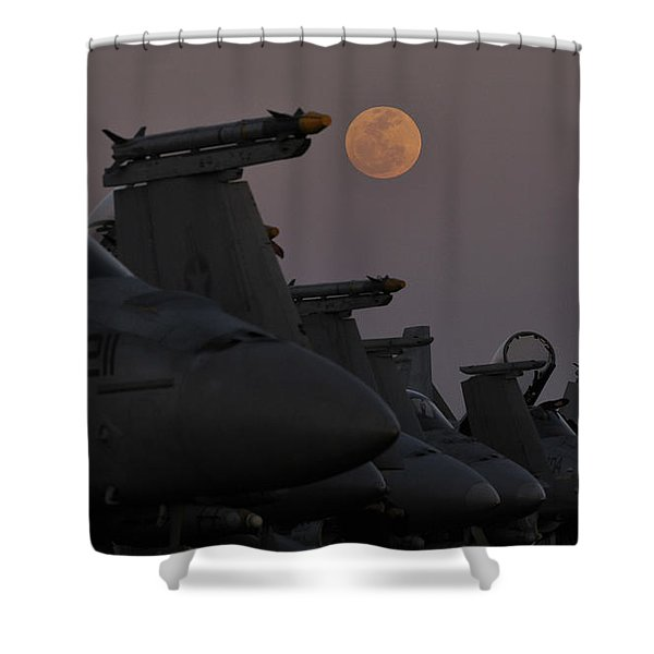 The Moon Rises Over Aircraft On The Flight Deck Of Uss Carl Vinson. Shower Curtain