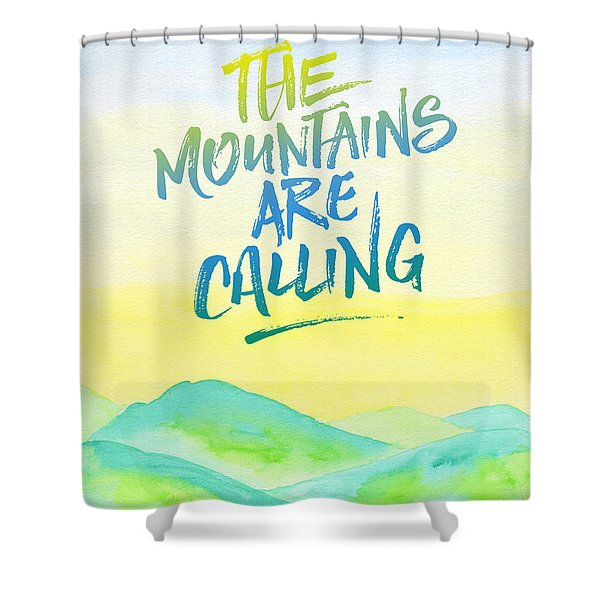 The Mountains Are Calling Yellow Blue Sky Watercolor Painting Shower Curtain