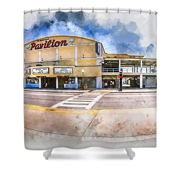 The Myrtle Beach Pavilion - Watercolor Shower Curtain